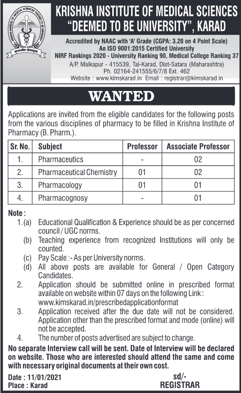 Applications are  invited for post of profession , Assistant professor to be filled in Krishan Institute of Pharmacy